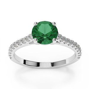 3.7 Ct Green Emerald With Diamond Wedding Ring 14k